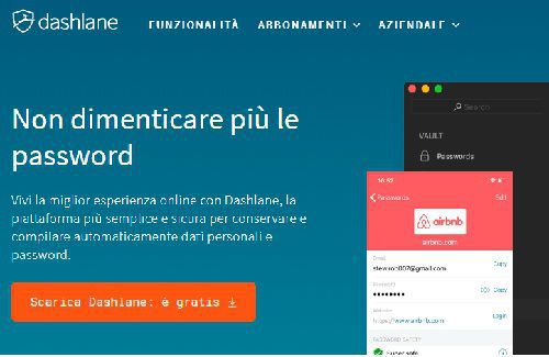 Dashlane archiviare sincronizzare memorizzare password